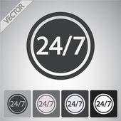 24 godziny na dobę i 7 dni w tygodniu ikonę. — Wektor stockowy