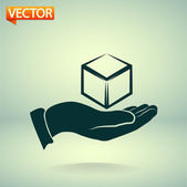 3d cube in hand — Stock Vector
