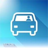 Car icon on sky background — Stock Vector