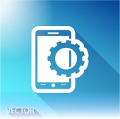 Setting parameters, mobile smartphone icon on sky background — Vettoriale Stock
