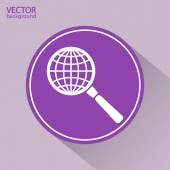 Earth with magnifying glass search icon — Vetorial Stock
