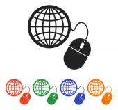 Global management, computer mouse icon — Stock Vector