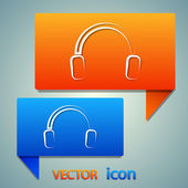 Headphones icon set — Stock Vector