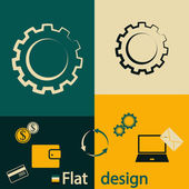 Gear icon. Flat design style — Stock Vector