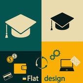 Graduation cap icon — Stock Vector