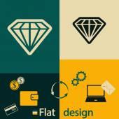 Piatto icona diamante — Vettoriale Stock