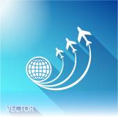 Globe with airplane icon — Stock Vector