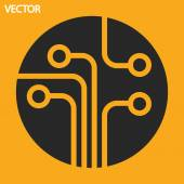 Circuit board, technology icon — Stock Vector