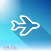 Airplane icon on sky background — Stock Vector