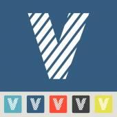 Zebra alphabet letter V — Stock Vector