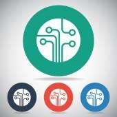 Placa de circuito, ícone de tecnologia — Vetor de Stock