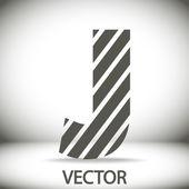 Zebra alphabet letter J — Stock Vector