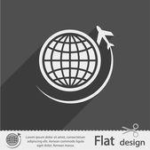 Globo con el icono de avión — Vector de stock