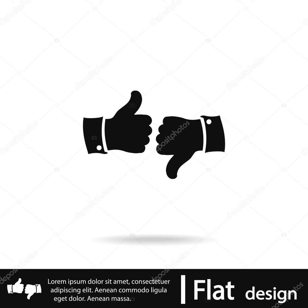 大拇指矢量图的图标.平面设计风格 — 矢量图片作者 best3d
