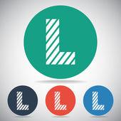 Zebra alphabet letter L — Stock Vector