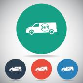 Fast Delivery With Van — Stock Vector