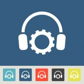Setting parameters and musical, headphones icon — Cтоковый вектор