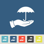 Umbrella with hand icons set — Stock Vector