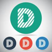 Zebra alphabet letter D — Stock Vector
