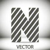 Zebra alphabet letter N — Stock Vector