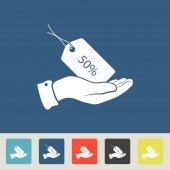 50 percent discount Tag icons set — Stock Vector