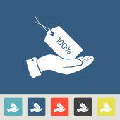 100 percent discount Tag icons set — Stock Vector