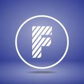 Zebra alphabet letter F — Stock Vector