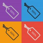 100 percent's tag icon — Stock Vector