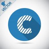 Zebra alphabet letter C — Stock Vector