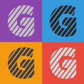 Zebra alphabet letter G — Stock Vector