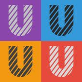 Zebra alphabet letter U — Stock Vector