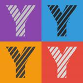 Zebra alphabet letter Y — Stock Vector