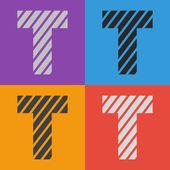 Zebra alfabet litery t — Wektor stockowy