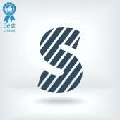 Zebra alphabet letter S — Stock Vector
