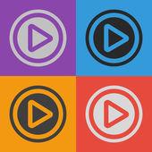 Play button web icon set — Stock Vector