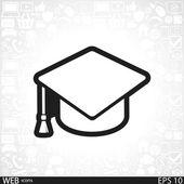Graduation cap icon — Stok Vektör