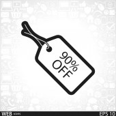 90 percent's OFF tag icon — Stock Vector