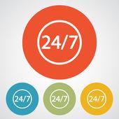 24 timmar om dygnet och 7 dagar en vecka-ikon. — Stockvektor