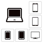 Set of electronic devices icon — Vector de stock