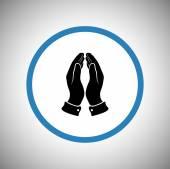 Icono de manos rezando — Vector de stock