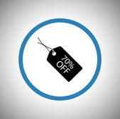 70 percent's tag icon — Stock Vector