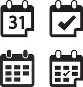 Kalender-Symbol legen Sie flaches Designstil — Stockvektor
