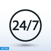24 Stunden 7 Tage die Woche — Stockvektor