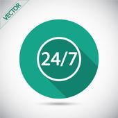 24 uur per dag en 7 dagen een week-pictogram. — Stockvector
