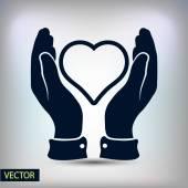 Serce w ręce ikona — Wektor stockowy