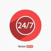24 heures par jour et 7 jours par semaine — Vecteur