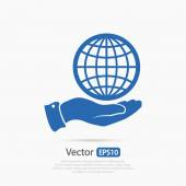 Globe icon in hand — Stock Vector