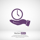 Clock in hand icon — Stock Vector