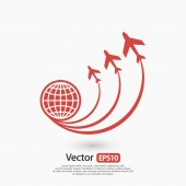 Globe with airplanes icon — Stock Vector