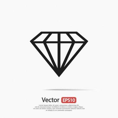 Diamond icon, Flat design